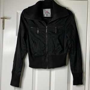 Black Poppy Cotton Ribbed Jacket